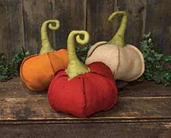 Large Burlap Pumpkins (Set of 3)