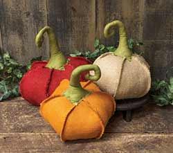 Small Burlap Pumpkins (Set of 3)