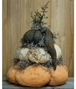 Stuffed Fat Pumpkin Stack with Crow