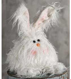 Fuzzy White Angora Bunny Doll - Medium