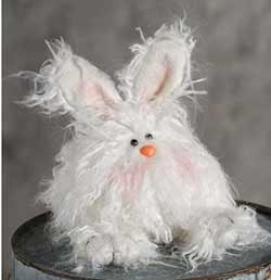Fuzzy White Angora Bunny Doll - Small