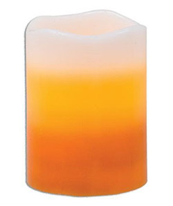 Candy Corn 4 inch Battery Pillar Candle