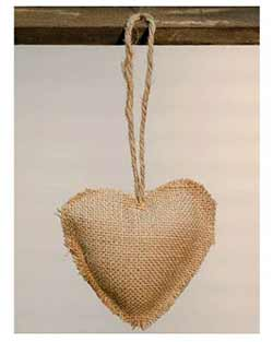 Simple Burlap Heart Ornament - 5 inch