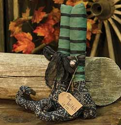 Green and Black Striped Witches Boots