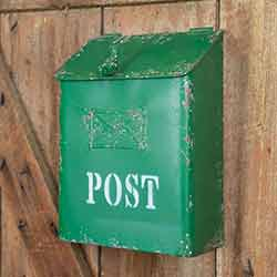 Green Distressed Metal Post Box