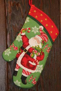Candy Cane Santa Oven Mitt