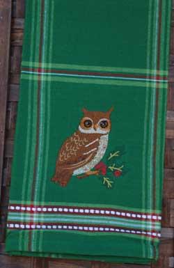 Woodland Owl Embroidered Tea Towel
