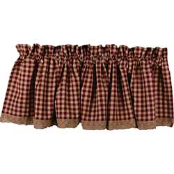 Heritage House Red Check Valance with Lace
