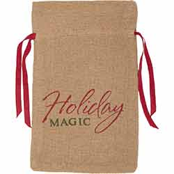 Holiday Magic Burlap Natural Wine Bag