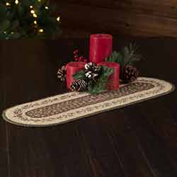 Holly Berry Jute Stencil 24 inch Oval Table Runner