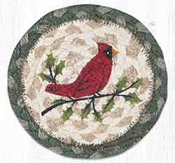 Holly Cardinal Braided Coaster