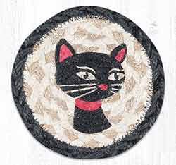 Crazy Cat Red Ribbon Braided Coaster