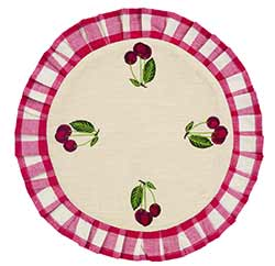 Cherry Red Checked Round Placemat