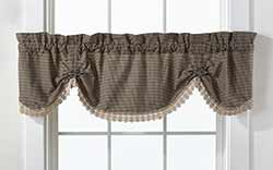 Ava Black Check & Lace Scalloped Valance