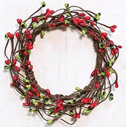 Red & Green Pip Berry Candle Ring - 3.5 inch
