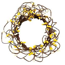 Yellow & Cream Pip Berry Candle Ring - 3.5 inch