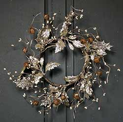 Vintage Glittered 12 inch Wreath with Holly & Bells