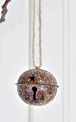 Glittered Rusty Bell Ornament - 2 inch