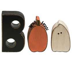 Boo Shelf Sitter with Ghost & Pumpkin (Set of 3)