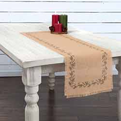 Jute Burlap Ivy 48 inch Table Runner