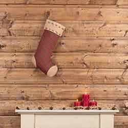 Jute Burlap Poinsettia 20 inch Stocking