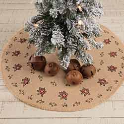 Jute Burlap Poinsettia Mini 21 inch Tree Skirt