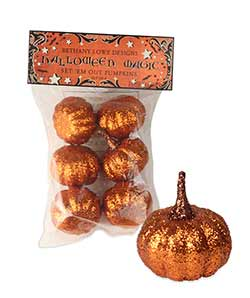 Orange Glittered Pumpkins (Set of 6)