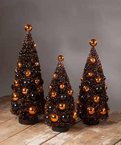 Magic Halloween Glittered Bottlebrush Trees (Set of 3)