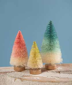 Spring Ombre Mini Bottle Brush Trees (Set of 3)