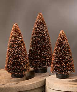 Black Bottlebrush Trees with Orange Glitter (Set of 3)