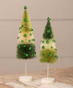 St. Patrick's Tricolor Bottle Brush Trees (Set of 2)