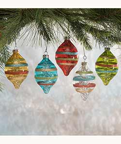 Merry & Bright Striped Glass Ornaments (Set of 5)