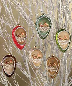 Pinecone Indent Ornaments with Santa (Set of 6)