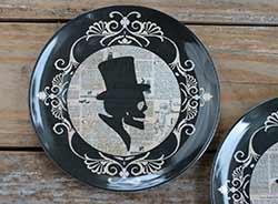 Halloween Silhouette Melamine Plate - Skull