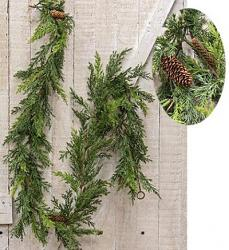 Prickly Pine 6 foot Garland - Christmas Green