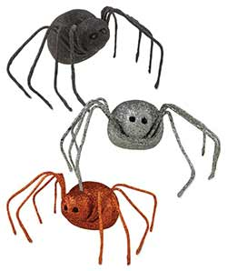 Glittered Spiders (Set of 3)