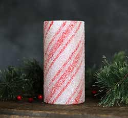 Candy Cane Battery 6 inch Pillar Candle with Timer