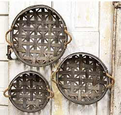 Gray Round Tobacco Baskets (Set of 3)