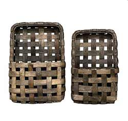 Gray Tobacco Basket Wall Pockets (Set of 2)
