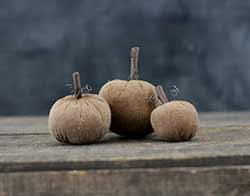 Small Primitive Stuffed Pumpkins (Set of 3)