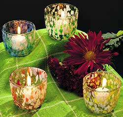 Multicolored Glass Votives (Set of 4)