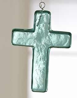Blue Glass Cross Ornament - Medium