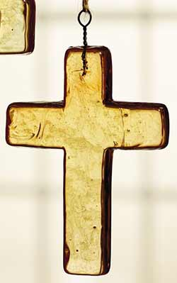 Amber Glass Cross Ornament - Medium
