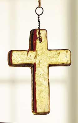 Amber Glass Cross Ornament - Small