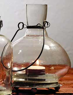 Glass Bottle Tealight Lantern - Medium