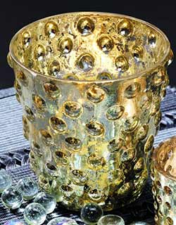 Gold Hobnail Glass Votive Candle Holder - 4 inch