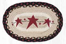 Primitive Stars Burgundy Printed Braided Oval Tablemat