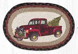 Christmas Truck Printed Braided Oval Tablemat