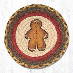 Gingerbread Man Braided Tablemat - Round (10 inch)