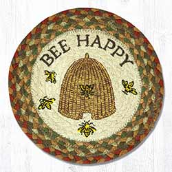Bee Happy Braided Tablemat - Round (10 inch)